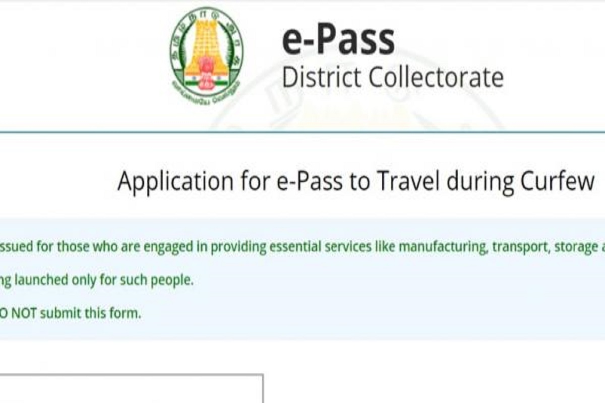 E-Pass compulsory to come to Tamil Nadu - Action order!