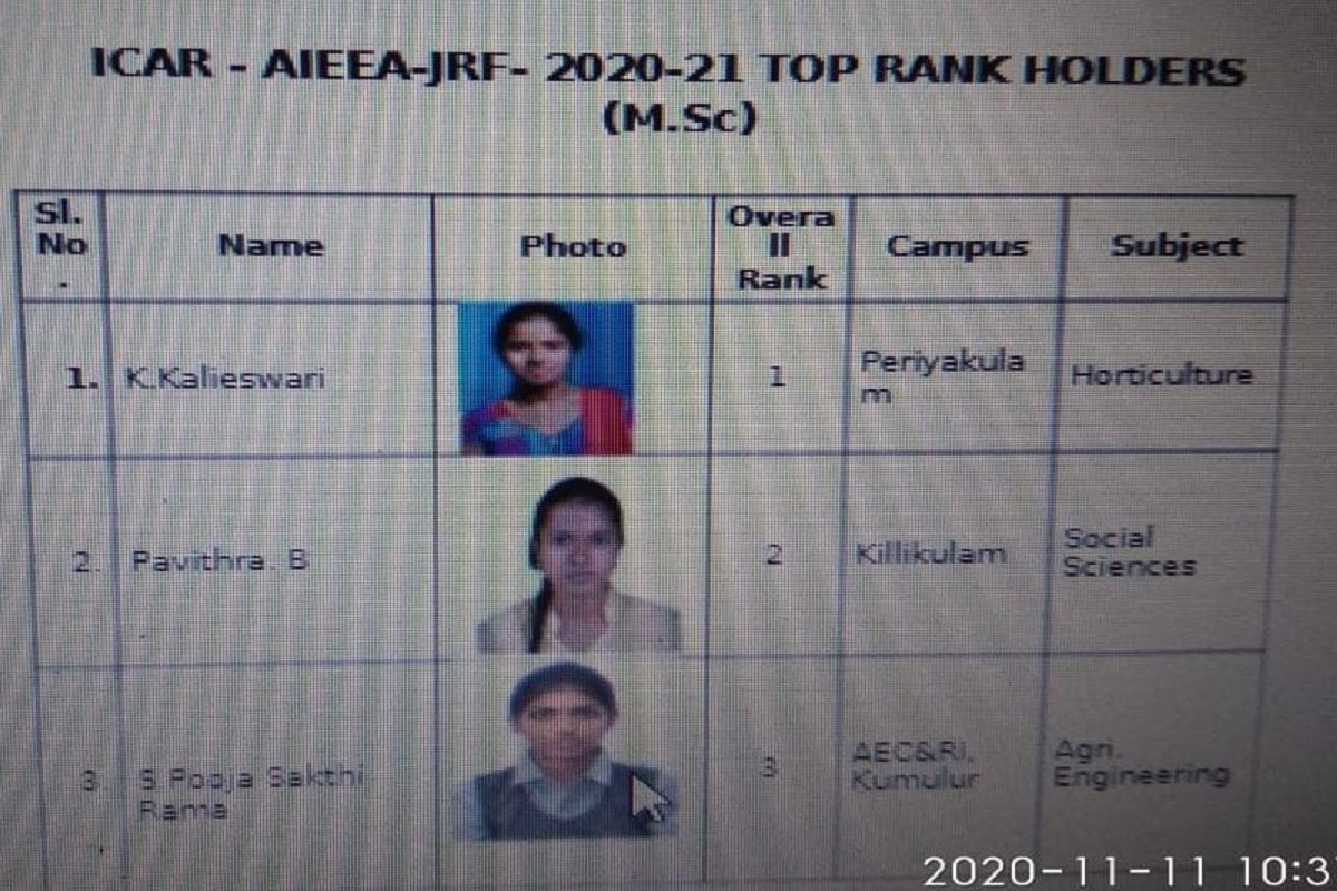 All India Agricultural Entrance- TNAU student tops nationally!